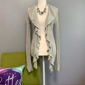 Express Grey Knit Ruffle Open Cardigan Sweater